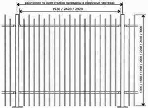 Схематическое изображение секции ограждения из профтрубы с указанием размеров деталей