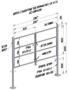 Схема с размерами распашных конструкций