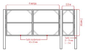 Схема конструкции cо стандартными размерами