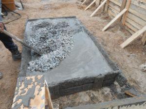 Изготовление бетонной смеси для заливки основания оргаждения