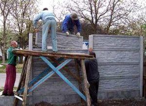 Монтаж наборных бетонных секций