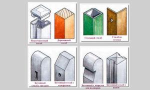 Зависимость высоты опорных элементов ограждения от разновидности материала