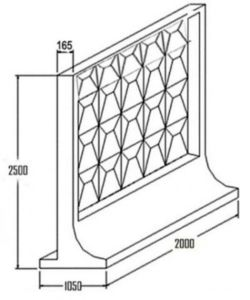 Эскиз самостоящего бетонного оградительного сооружения