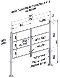 Чертеж стандартных распашных конструкций с указанием материала