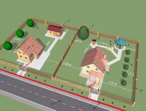 Эскиз правильного расположения строений относительно границ