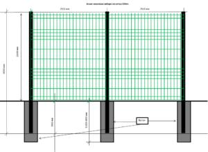 Схема устройства столбов и сетки стальной зеленой для забора