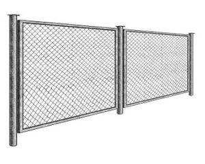 Секционное ограждение из сетки рабицы