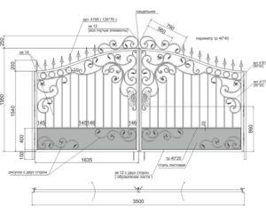 Чертеж ворот с элементами ковки для последующей обшивки профлистом