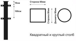 Эскиз применяемых диаметров труб для обустройства ограждений