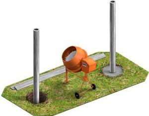 Установка столбов для ограждения из металлического профиля