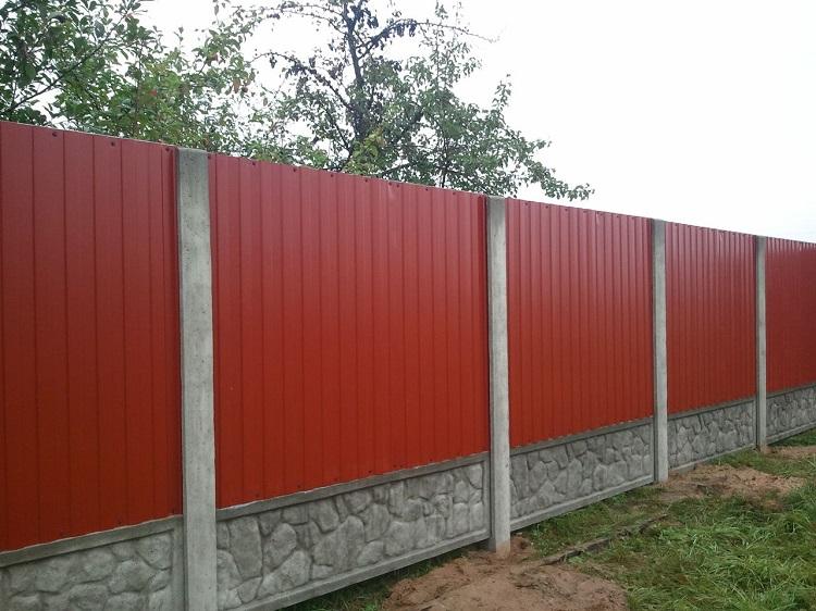 Забор столб профнастил своими руками