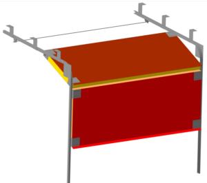 Промежуточное положение при подъеме или опускании подъемных ворот из кровельных сэндвич-панелей.