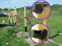Обработка столба забора: деревянного при установке