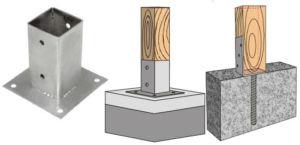 Возможные варианты установки деревянных столбов