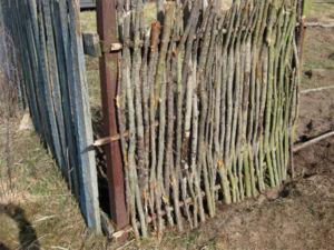 Вертикальное плетение из необработанных веток лозы