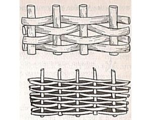 Схема горизонтального расположения досок или прутьев