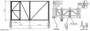 Чертеж конструкции со встроенной калиткой